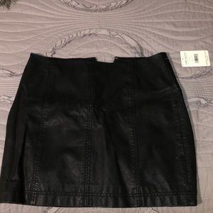 Free people black leather skirt